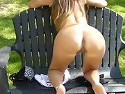 Wife revealing huge baps and clitoris in the park