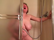 Mature damsel has heavy climax with the douche head