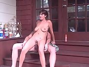 Big titted first-timer black-haired romping on the porch