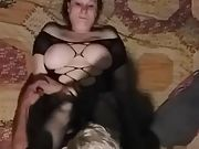 Redhead wifey fucking husbands immense cock
