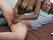 Wife giving me a hand-job while on cam