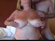 Huge titted mature shares puffies gets ass fucking bum torn up