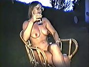 Yvonne naked outside with hard nipples