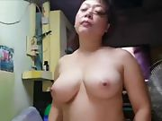 Beautiful asian with yam sized natural breasts suck fuck and gulp