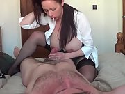 Huge-boobed wifey handjob and railing cowgirl